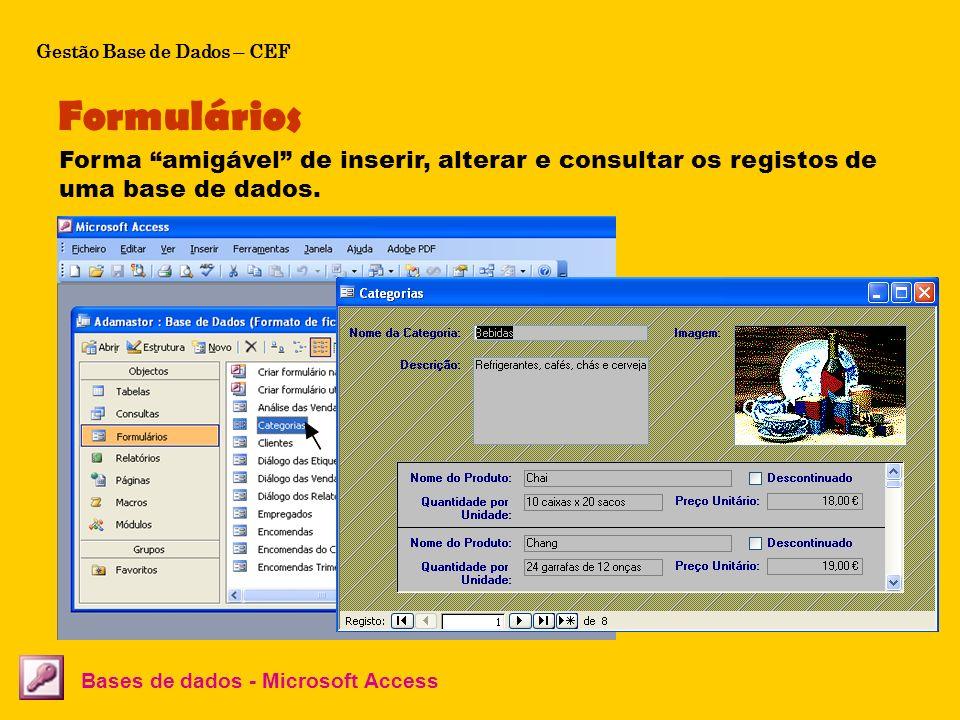 Os formulários servem de interface entre o utilizador e os dados que se encontram nas tabelas. Formulários Bases de dados - Microsoft Access Forma ami