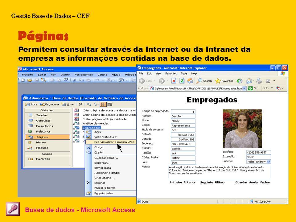 O Microsoft Access permite de forma fácil criar páginas web de acesso a bases de dados. Páginas Bases de dados - Microsoft Access Permitem consultar a
