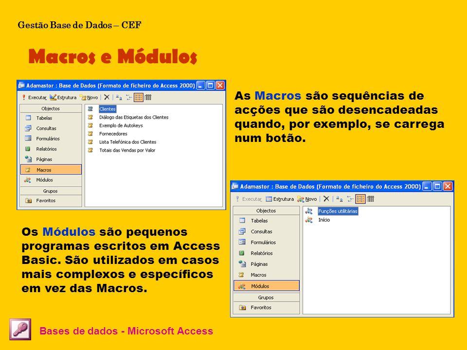Macros e Módulos Bases de dados - Microsoft Access As Macros são sequências de acções que são desencadeadas quando, por exemplo, se carrega num botão.