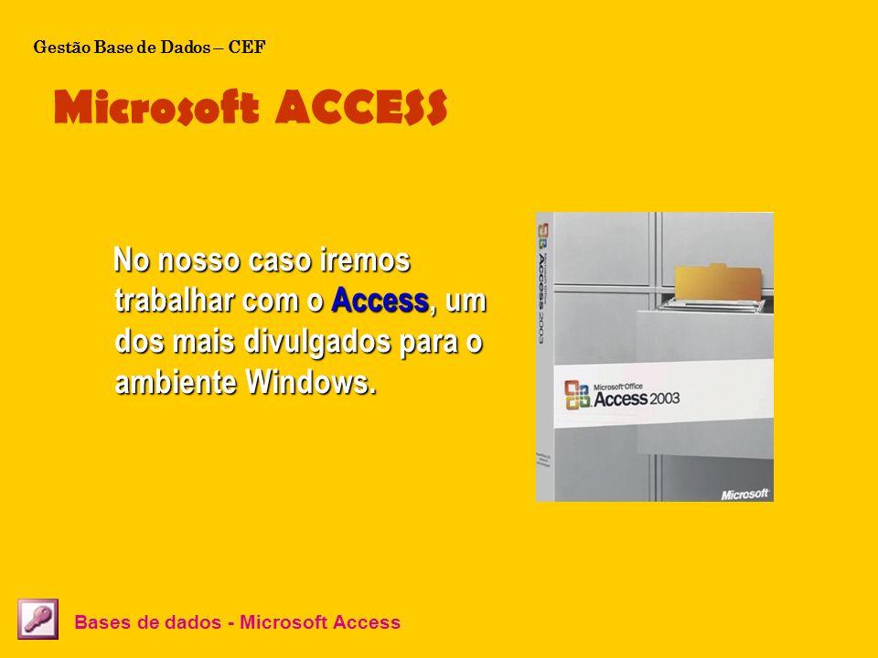 Microsoft ACCESS Bases de dados - Microsoft Access No nosso caso iremos trabalhar com o Access, um dos mais divulgados para o ambiente Windows. No nos