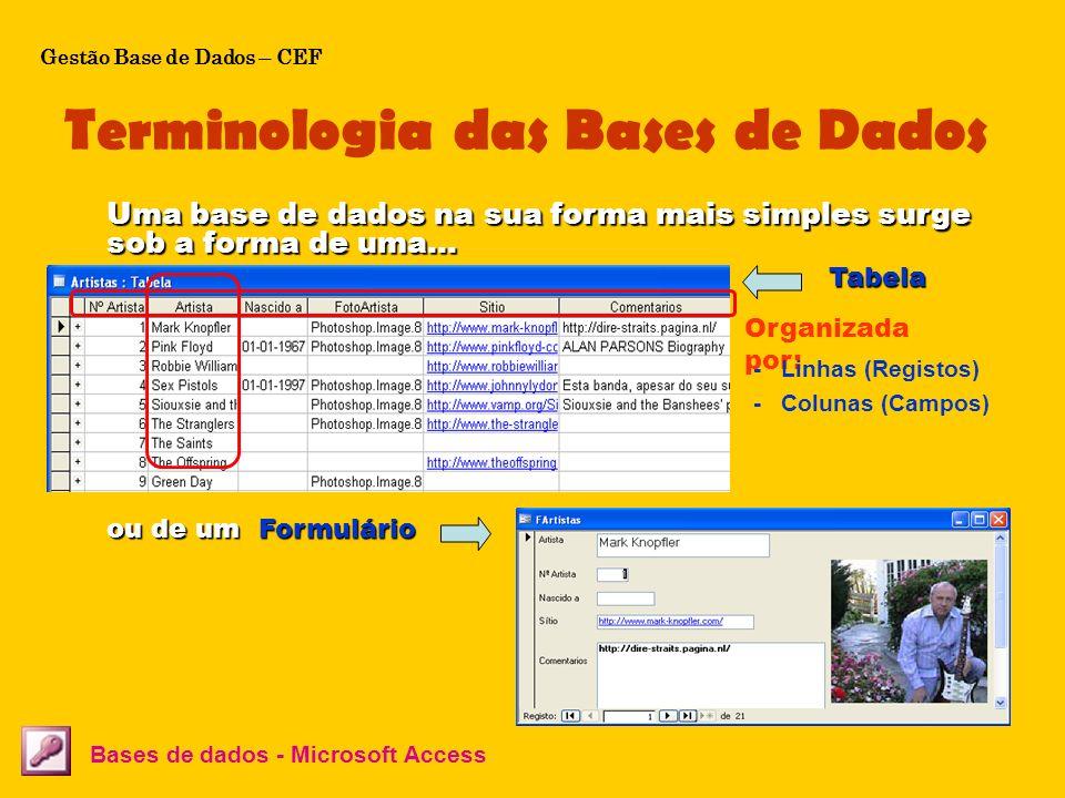 Terminologia das Bases de Dados Bases de dados - Microsoft Access Uma base de dados na sua forma mais simples surge sob a forma de uma… Tabela Formulá