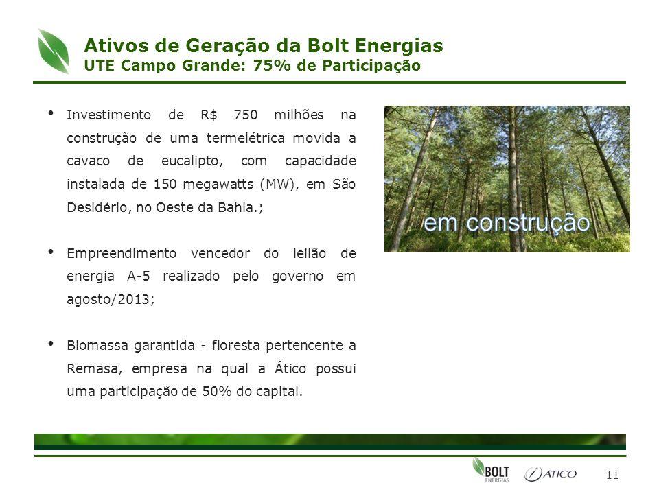 11 Ativos de Geração da Bolt Energias UTE Campo Grande: 75% de Participação Investimento de R$ 750 milhões na construção de uma termelétrica movida a