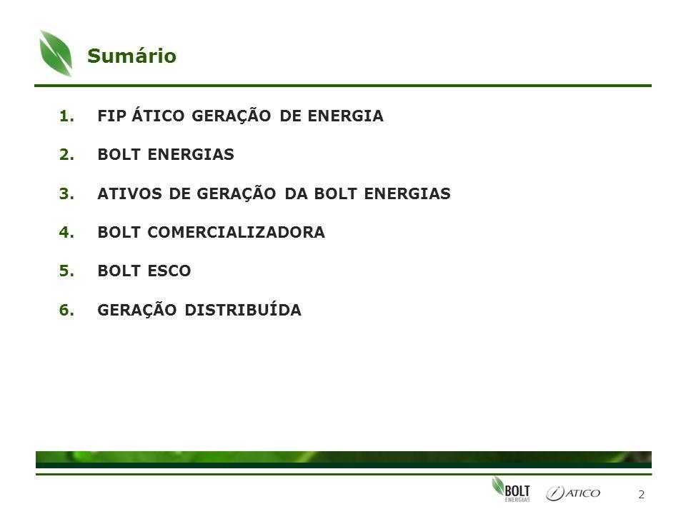 Sumário 1.FIP ÁTICO GERAÇÃO DE ENERGIA 2.BOLT ENERGIAS 3.ATIVOS DE GERAÇÃO DA BOLT ENERGIAS 4.BOLT COMERCIALIZADORA 5.BOLT ESCO 6.GERAÇÃO DISTRIBUÍDA