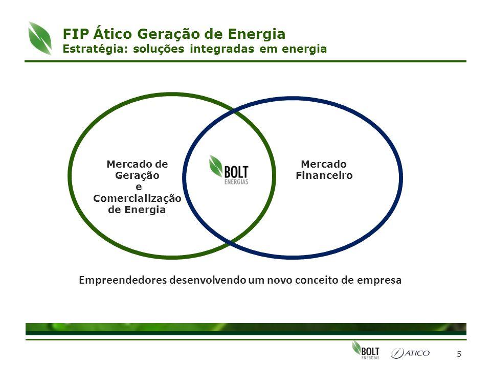 FIP Ático Geração de Energia Estratégia: soluções integradas em energia 5 Mercado de Geração e Comercialização de Energia Mercado Financeiro Empreende