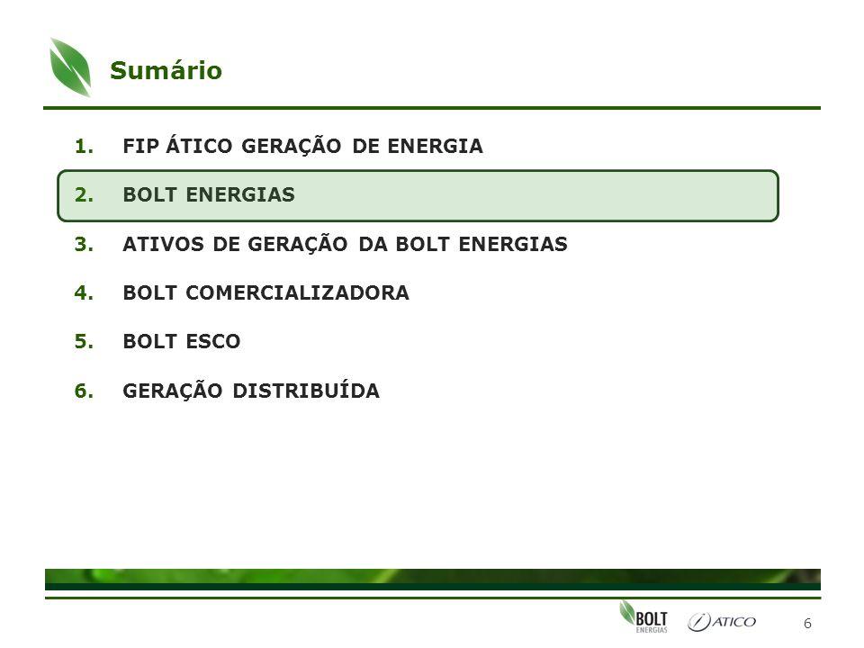 Bolt Energias Atuais investimentos 7 BOLT Comercializadora Energia Incentivada Energia Convencional PCH Braço do Norte IIIUTE Linhares I 40% 10,875% 100% UTE Campo Grande 75%