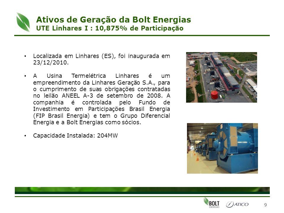 9 Localizada em Linhares (ES), foi inaugurada em 23/12/2010. A Usina Termelétrica Linhares é um empreendimento da Linhares Geração S.A., para o cumpri