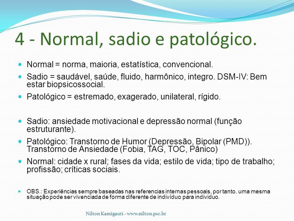 4 - Normal, sadio e patológico. Normal = norma, maioria, estatística, convencional. Sadio = saudável, saúde, fluido, harmônico, integro. DSM-IV: Bem e