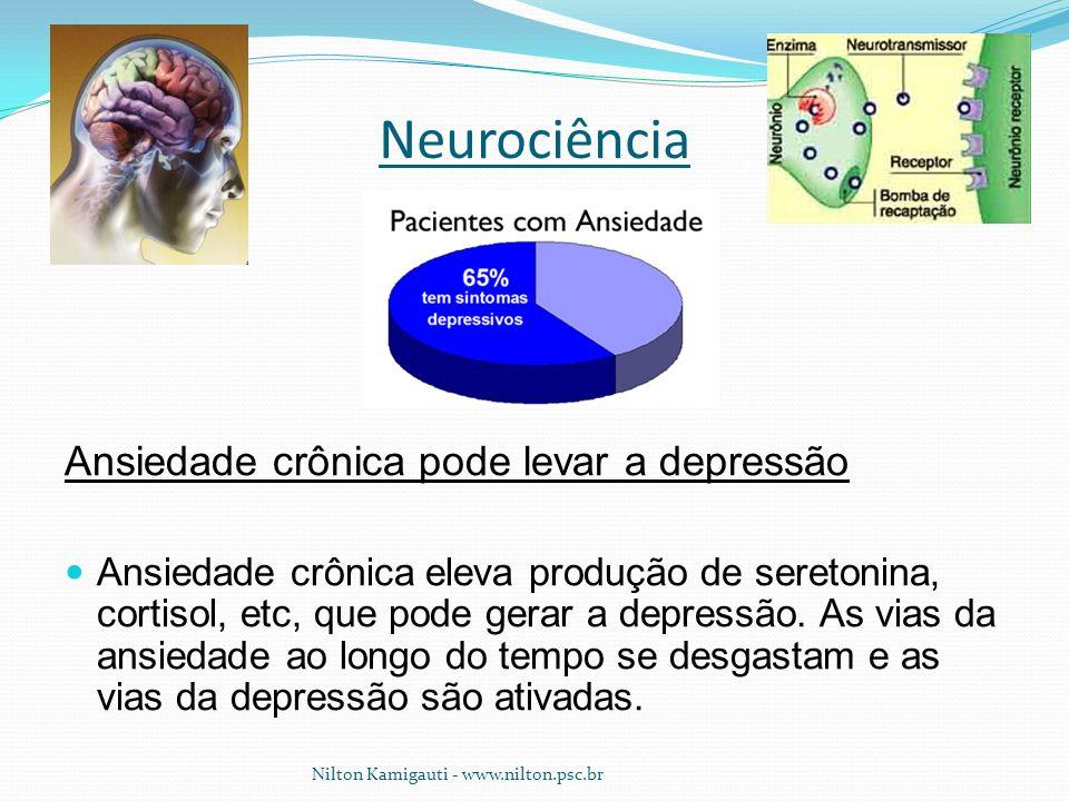 Neurociência Ansiedade crônica pode levar a depressão Ansiedade crônica eleva produção de seretonina, cortisol, etc, que pode gerar a depressão. As vi