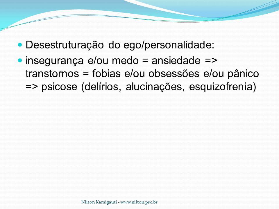 Desestruturação do ego/personalidade: insegurança e/ou medo = ansiedade => transtornos = fobias e/ou obsessões e/ou pânico => psicose (delírios, aluci
