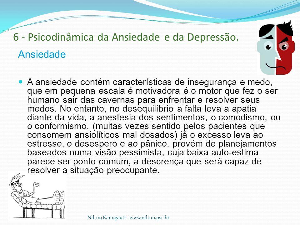 6 - Psicodinâmica da Ansiedade e da Depressão. Ansiedade A ansiedade contém características de insegurança e medo, que em pequena escala é motivadora