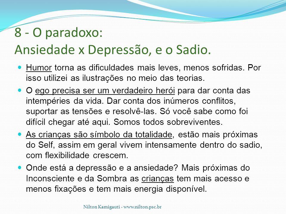 8 - O paradoxo: Ansiedade x Depressão, e o Sadio. Humor torna as dificuldades mais leves, menos sofridas. Por isso utilizei as ilustrações no meio das