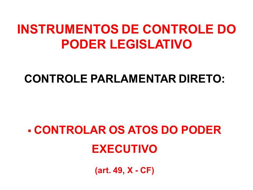 CONTROLE POLÍTICO (direto) CONTROLE FINANCEIRO (indireto) com o auxílio do Tribunal de Contas INSTRUMENTOS DE CONTROLE DO PODER LEGISLATIVO