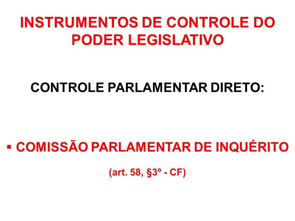 INSTRUMENTOS DE CONTROLE DO PODER LEGISLATIVO CONTROLE PARLAMENTAR DIRETO: APROVAÇÃO DE INDICADOS PARA NOMEAÇÃO (art.