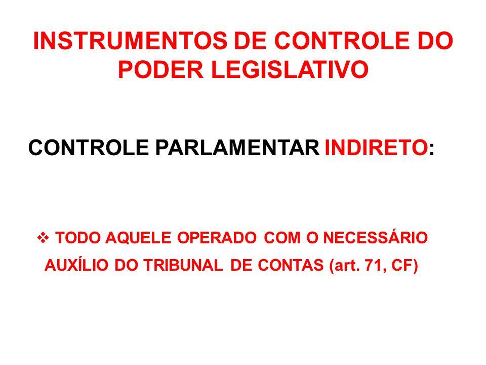 INSTRUMENTOS DE CONTROLE DO PODER LEGISLATIVO CONTROLE PARLAMENTAR DIRETO: PROCEDER À TOMADA DE CONTAS DO PRESIDENTE (art.