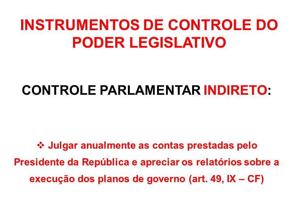 INSTRUMENTOS DE CONTROLE DO PODER LEGISLATIVO CONTROLE PARLAMENTAR INDIRETO: TODO AQUELE OPERADO COM O NECESSÁRIO AUXÍLIO DO TRIBUNAL DE CONTAS (art.