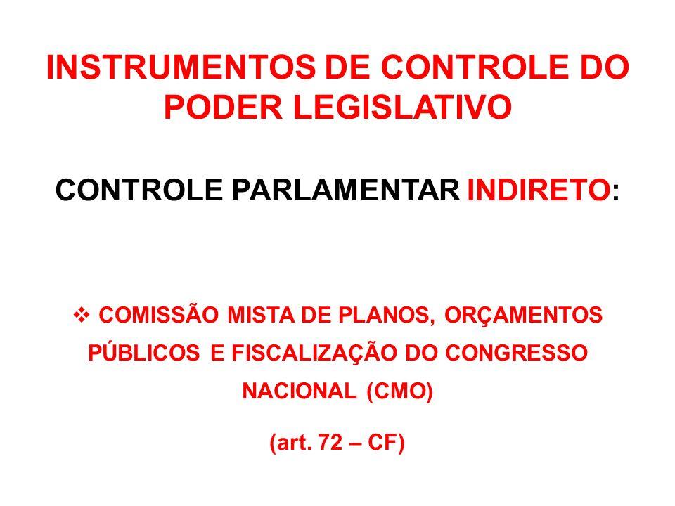 INSTRUMENTOS DE CONTROLE DO PODER LEGISLATIVO CONTROLE PARLAMENTAR INDIRETO: Art.