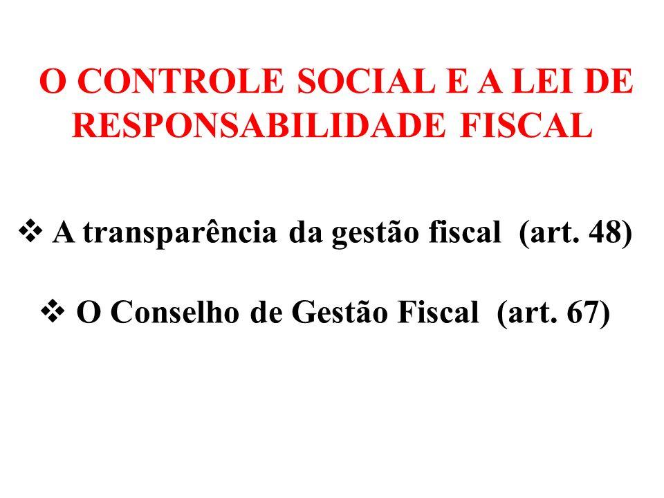 O CONTROLE SOCIAL E A REGÊNCIA CONSTITUCIONAL Art.