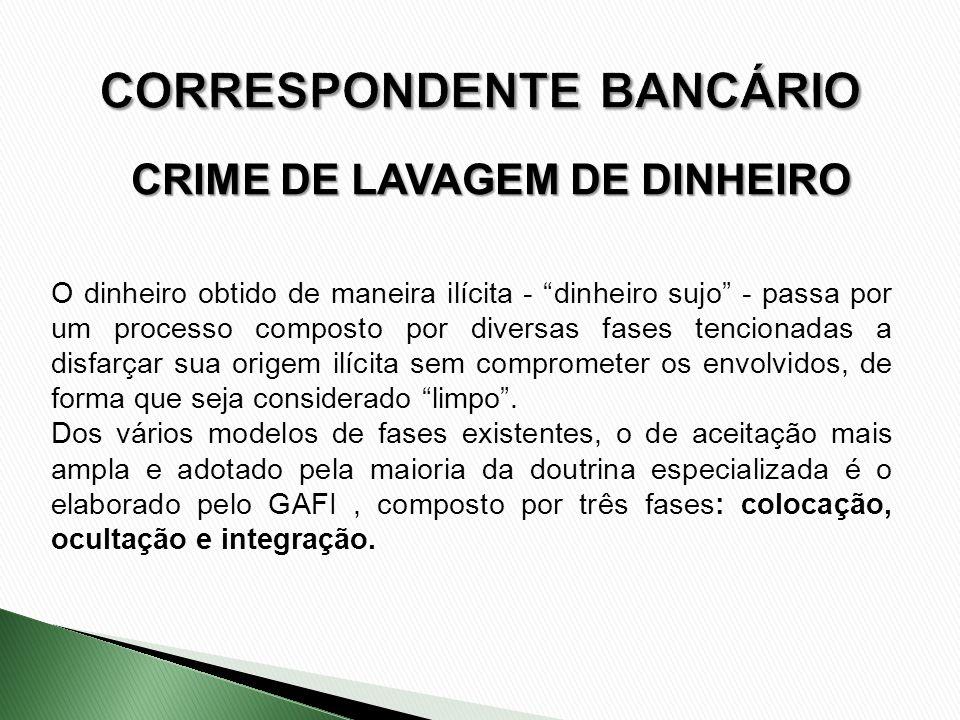 CRIME DE LAVAGEM DE DINHEIRO O dinheiro obtido de maneira ilícita - dinheiro sujo - passa por um processo composto por diversas fases tencionadas a di