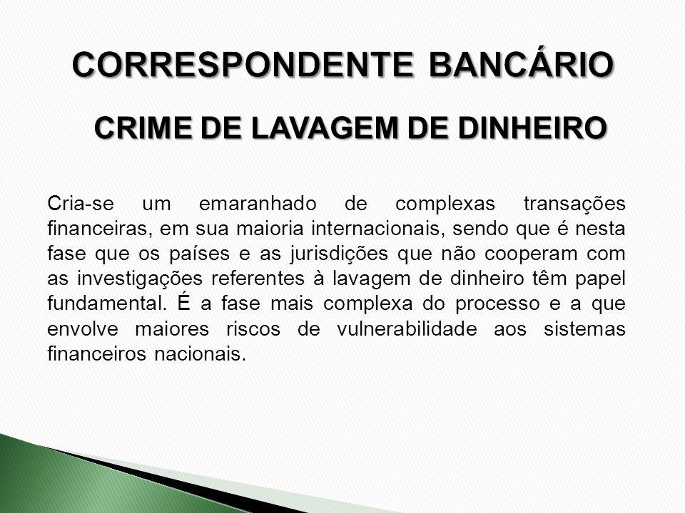 CRIME DE LAVAGEM DE DINHEIRO Cria-se um emaranhado de complexas transações financeiras, em sua maioria internacionais, sendo que é nesta fase que os p