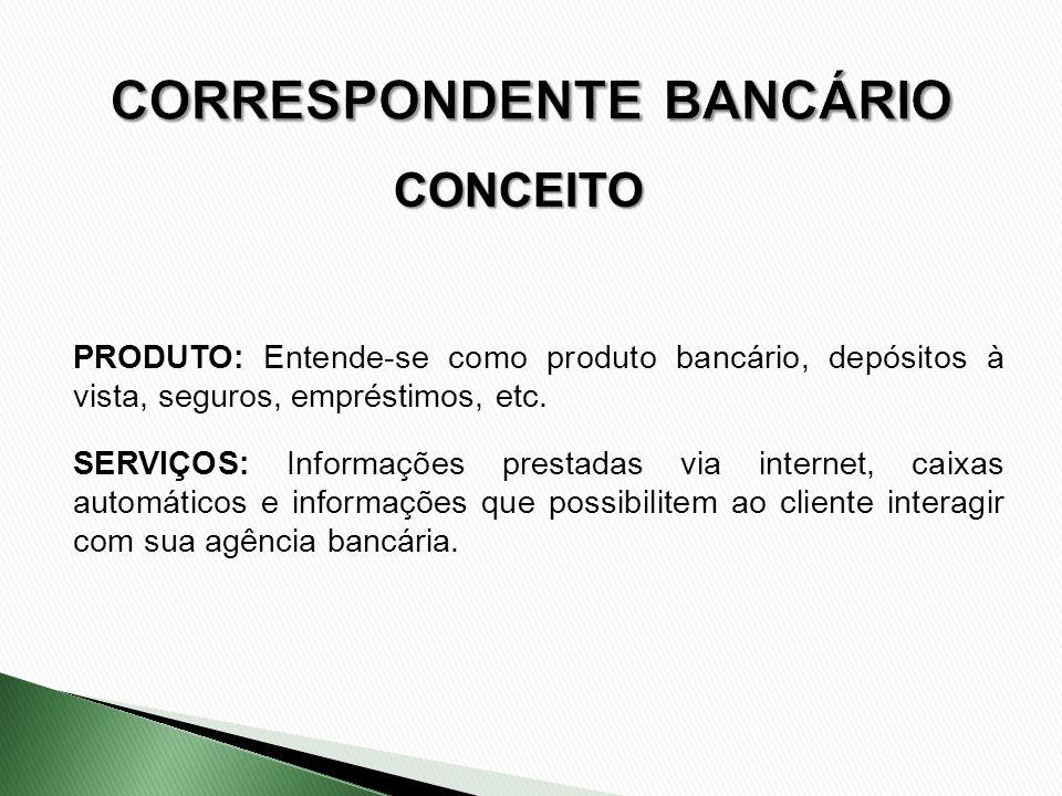 CONCEITO PRODUTO: Entende-se como produto bancário, depósitos à vista, seguros, empréstimos, etc. SERVIÇOS: Informações prestadas via internet, caixas