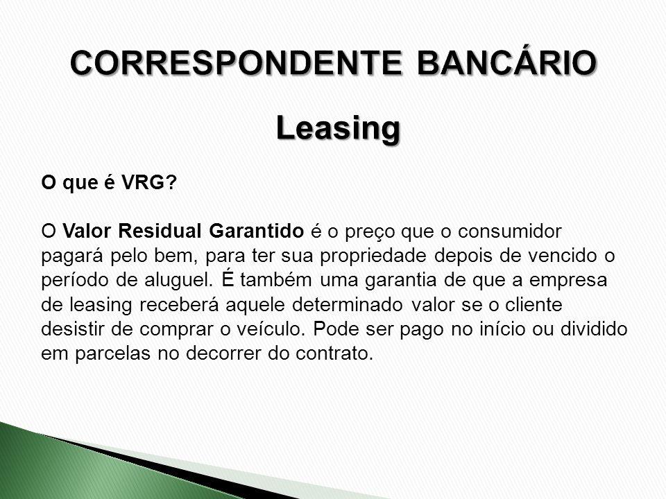 O que é VRG? O Valor Residual Garantido é o preço que o consumidor pagará pelo bem, para ter sua propriedade depois de vencido o período de aluguel. É