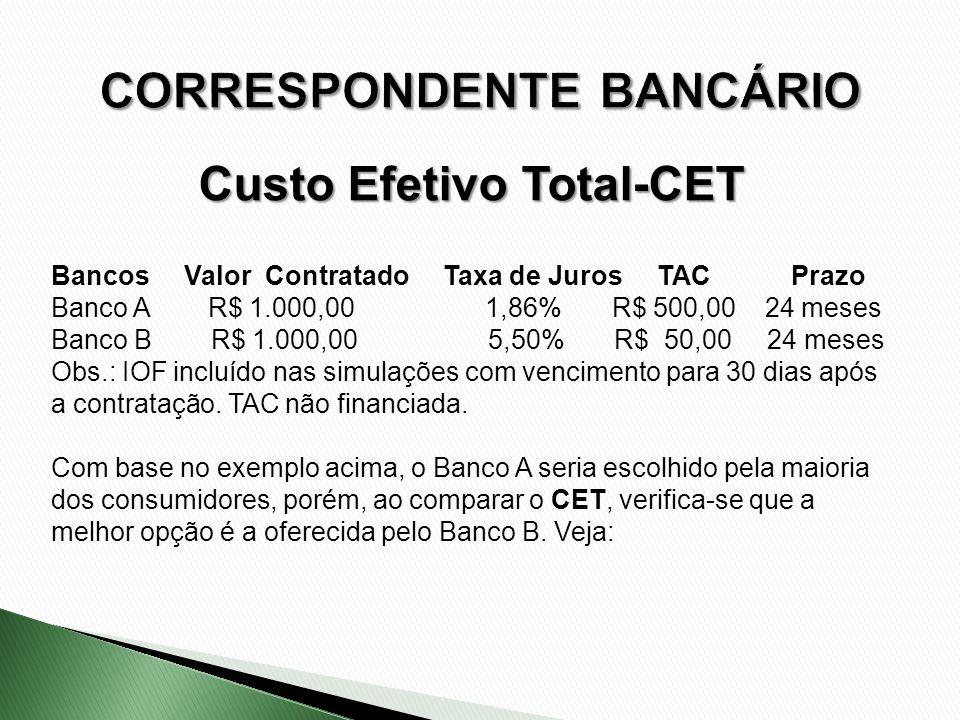 Bancos Valor Contratado Taxa de Juros TAC Prazo Banco A R$ 1.000,00 1,86% R$ 500,00 24 meses Banco B R$ 1.000,00 5,50% R$ 50,00 24 meses Obs.: IOF inc