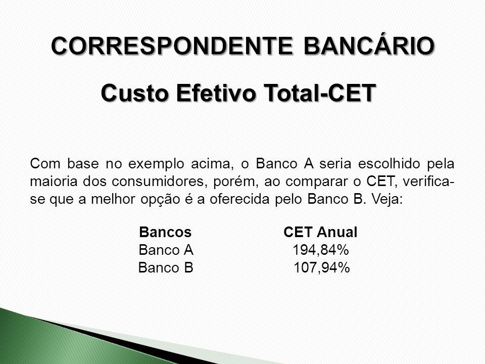 Bancos CET Anual Banco A 194,84% Banco B 107,94% Com base no exemplo acima, o Banco A seria escolhido pela maioria dos consumidores, porém, ao compara