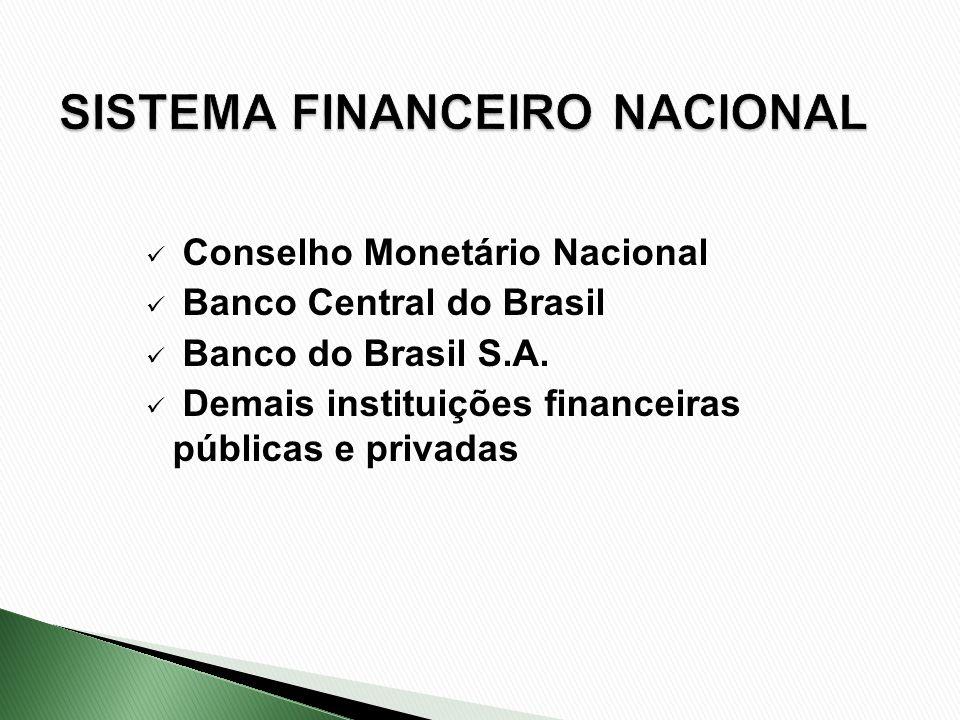 Conselho Monetário Nacional Banco Central do Brasil Banco do Brasil S.A. Demais instituições financeiras públicas e privadas