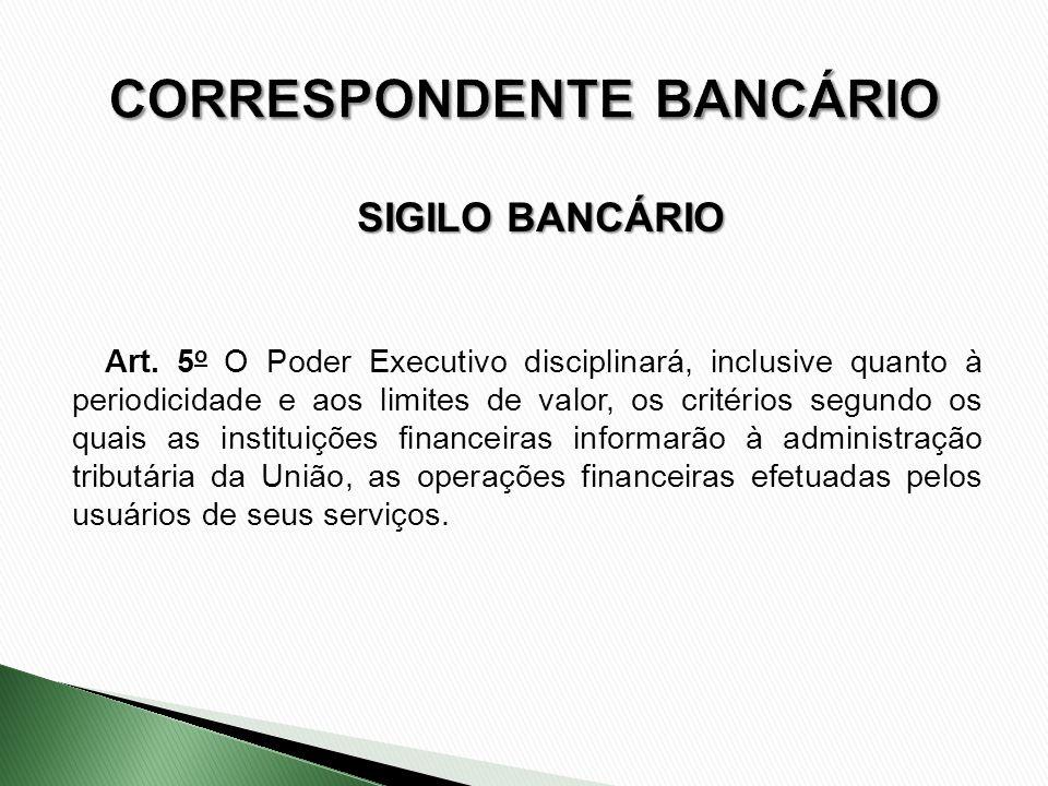 Art. 5 o O Poder Executivo disciplinará, inclusive quanto à periodicidade e aos limites de valor, os critérios segundo os quais as instituições financ