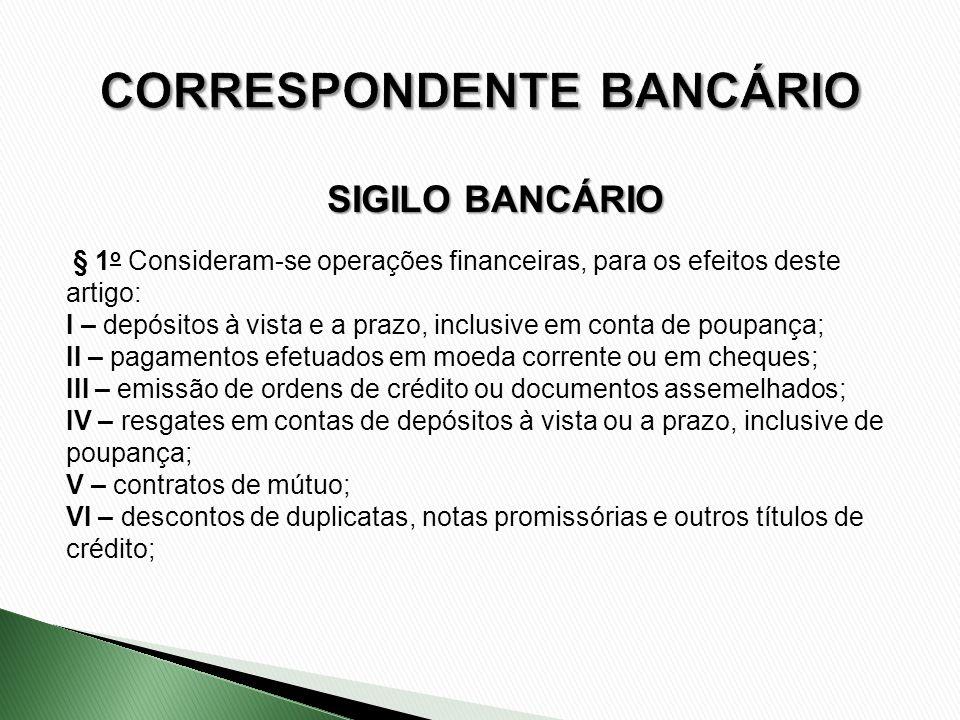 § 1 o Consideram-se operações financeiras, para os efeitos deste artigo: I – depósitos à vista e a prazo, inclusive em conta de poupança; II – pagamen