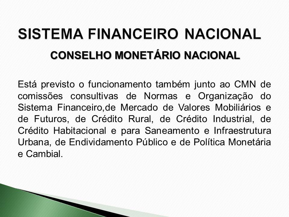 Está previsto o funcionamento também junto ao CMN de comissões consultivas de Normas e Organização do Sistema Financeiro,de Mercado de Valores Mobiliá