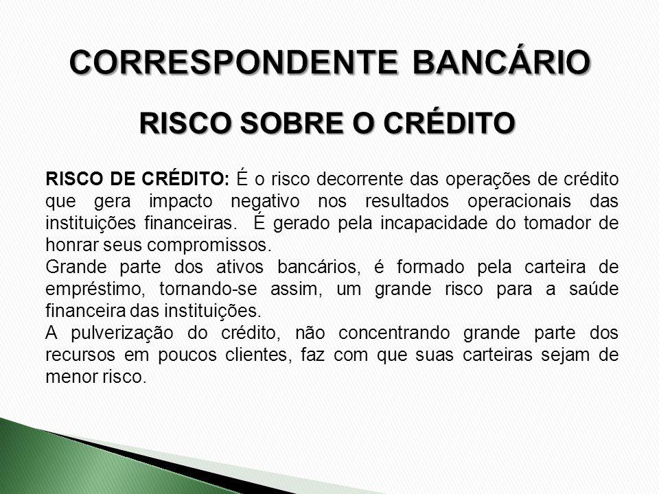 RISCO SOBRE O CRÉDITO RISCO DE CRÉDITO: É o risco decorrente das operações de crédito que gera impacto negativo nos resultados operacionais das instit