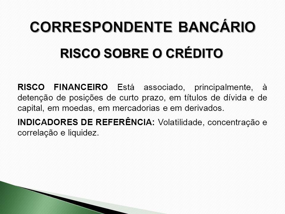 RISCO SOBRE O CRÉDITO RISCO FINANCEIRO Está associado, principalmente, à detenção de posições de curto prazo, em títulos de dívida e de capital, em mo