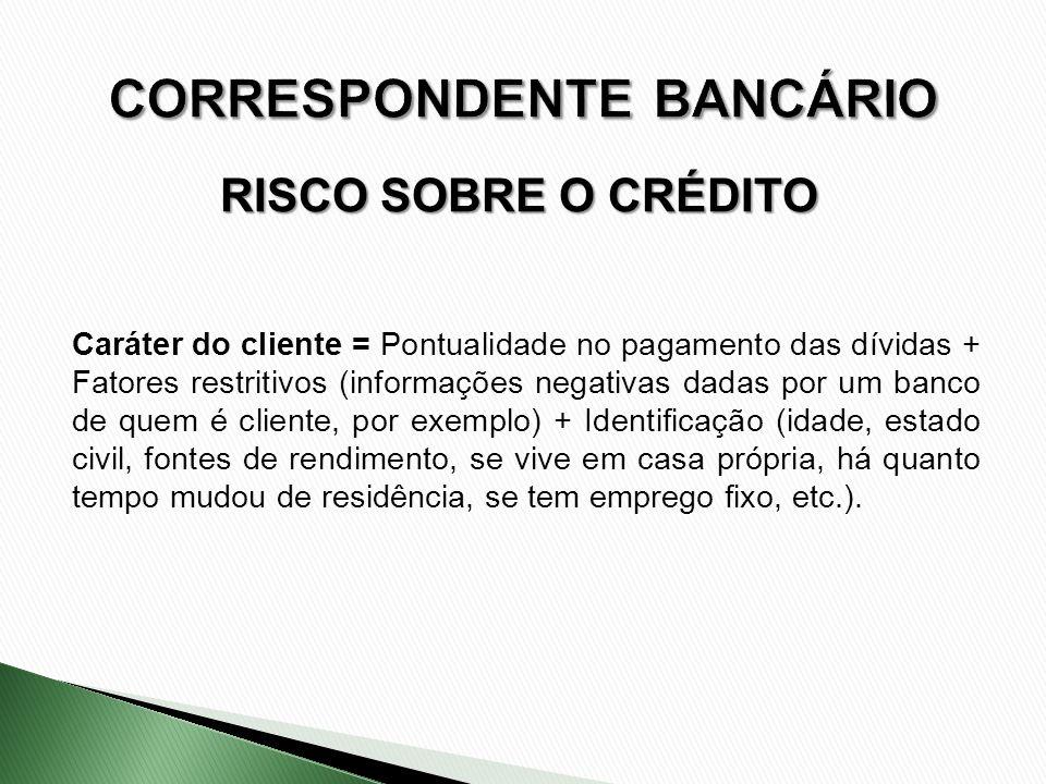 RISCO SOBRE O CRÉDITO Caráter do cliente = Pontualidade no pagamento das dívidas + Fatores restritivos (informações negativas dadas por um banco de qu