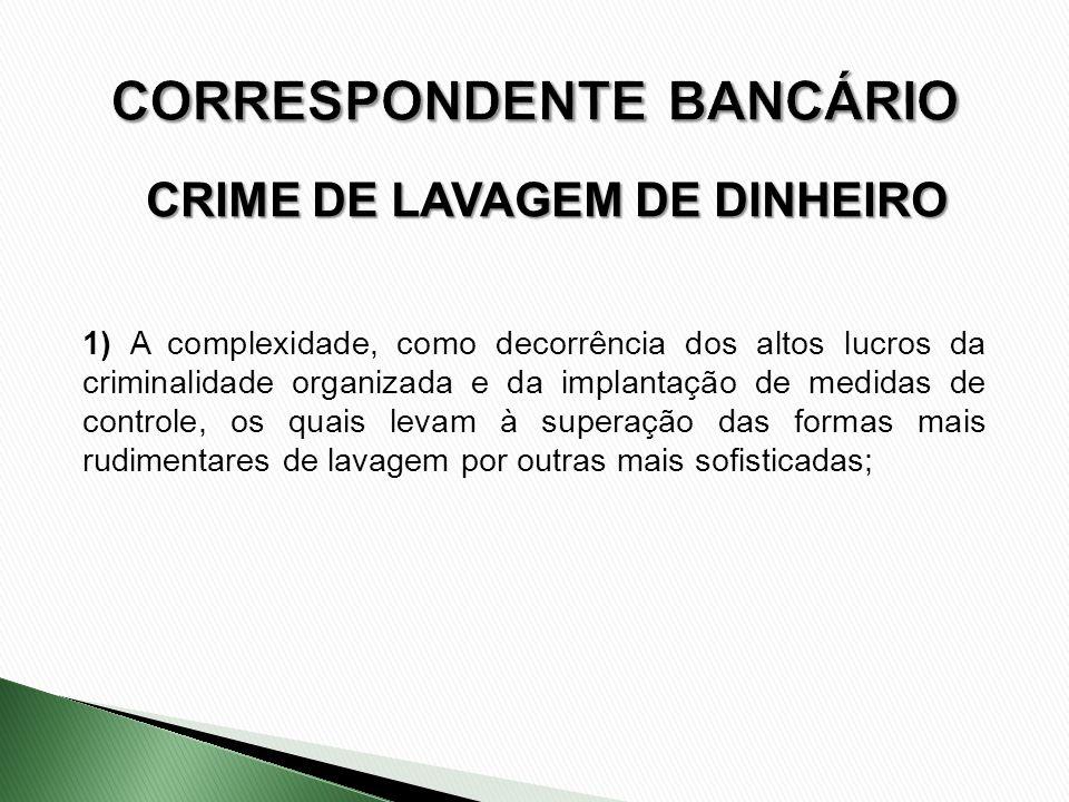 CRIME DE LAVAGEM DE DINHEIRO 1) A complexidade, como decorrência dos altos lucros da criminalidade organizada e da implantação de medidas de controle,