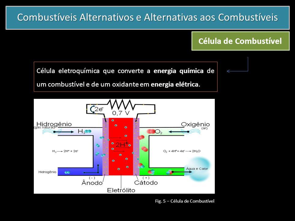 Combustíveis Alternativos e Alternativas aos Combustíveis Célula de Combustível Célula eletroquímica que converte a energia química de um combustível