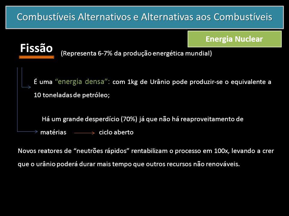 Combustíveis Alternativos e Alternativas aos Combustíveis Energia Nuclear Fissão (Representa 6-7% da produção energética mundial) É uma energia densa: