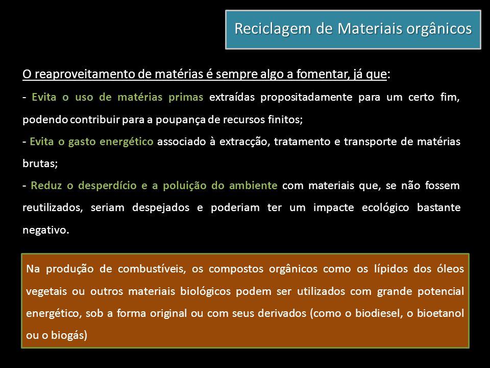 O reaproveitamento de matérias é sempre algo a fomentar, já que: - Evita o uso de matérias primas extraídas propositadamente para um certo fim, podend