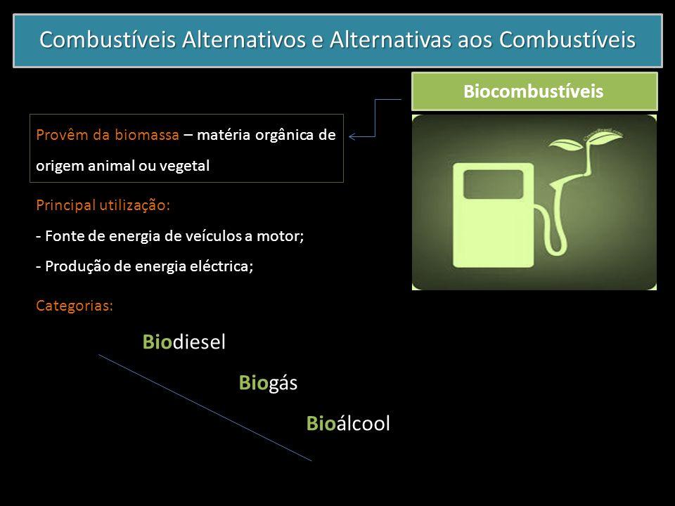 Combustíveis Alternativos e Alternativas aos Combustíveis Biocombustíveis Provêm da biomassa – matéria orgânica de origem animal ou vegetal Principal