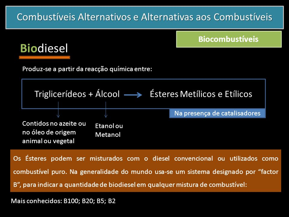 Combustíveis Alternativos e Alternativas aos Combustíveis Biocombustíveis Biodiesel Produz-se a partir da reacção química entre: Triglicerídeos + Álco