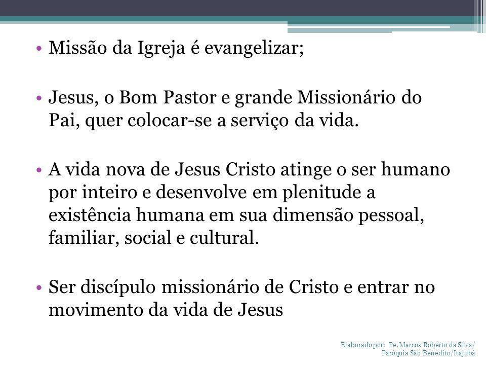 Missão da Igreja é evangelizar; Jesus, o Bom Pastor e grande Missionário do Pai, quer colocar-se a serviço da vida. A vida nova de Jesus Cristo atinge