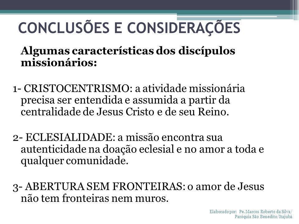 CONCLUSÕES E CONSIDERAÇÕES Algumas características dos discípulos missionários: 1- CRISTOCENTRISMO: a atividade missionária precisa ser entendida e as