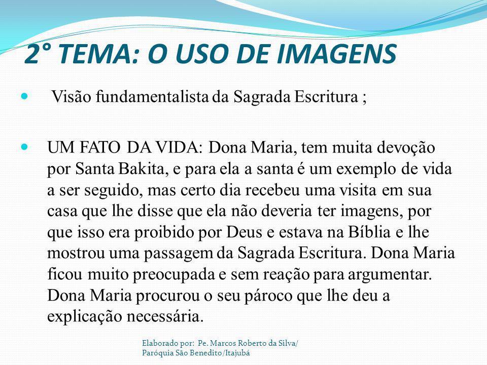 2° TEMA: O USO DE IMAGENS Visão fundamentalista da Sagrada Escritura ; UM FATO DA VIDA: Dona Maria, tem muita devoção por Santa Bakita, e para ela a s