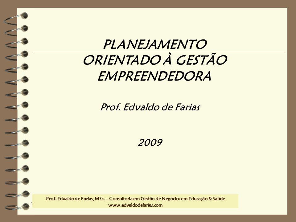 Prof. MSc. Edvaldo de Farias – www.edvaldodefarias.pro.br edvaldo.farias@uol.com.br PLANEJAMENTO ORIENTADO À GESTÃO EMPREENDEDORA Prof. Edvaldo de Far