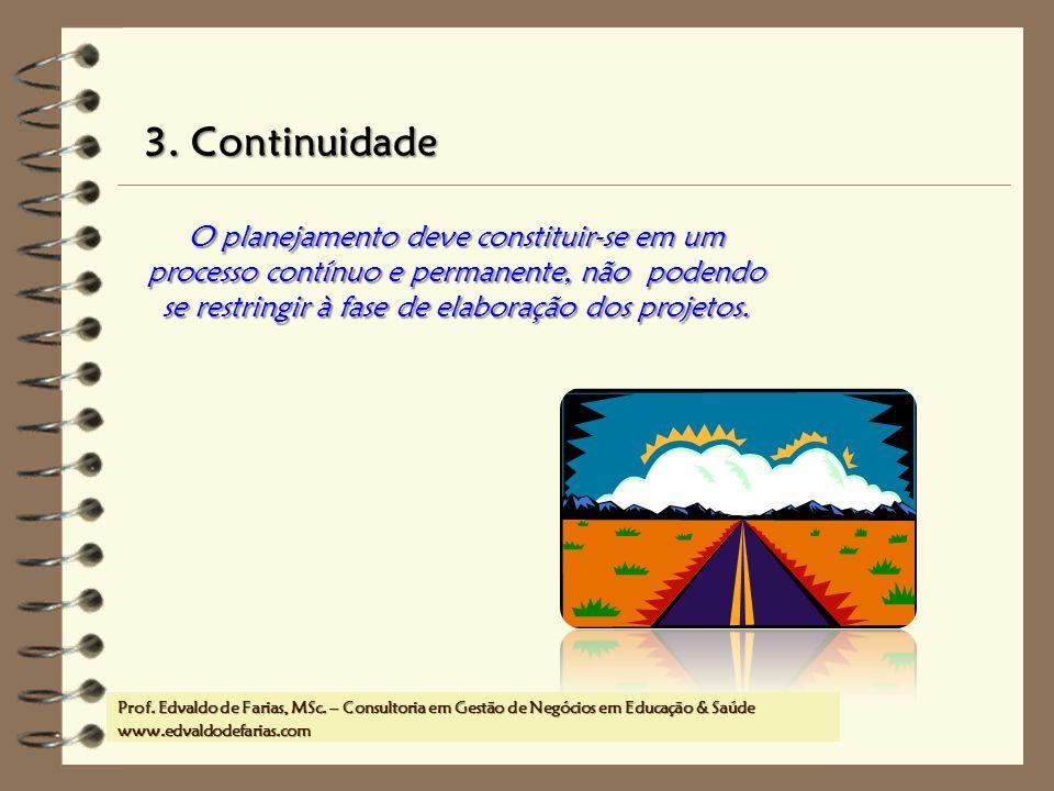 Prof. MSc. Edvaldo de Farias – www.edvaldodefarias.pro.br edvaldo.farias@uol.com.br 3. Continuidade O planejamento deve constituir-se em um processo c