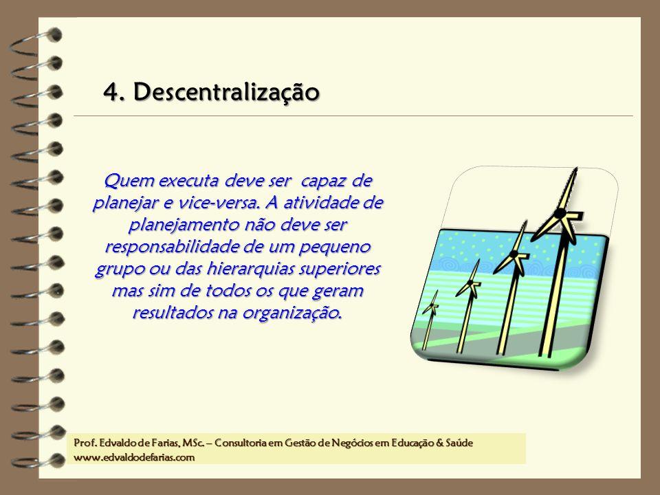 Prof. MSc. Edvaldo de Farias – www.edvaldodefarias.pro.br edvaldo.farias@uol.com.br 4. Descentralização Quem executa deve ser capaz de planejar e vice