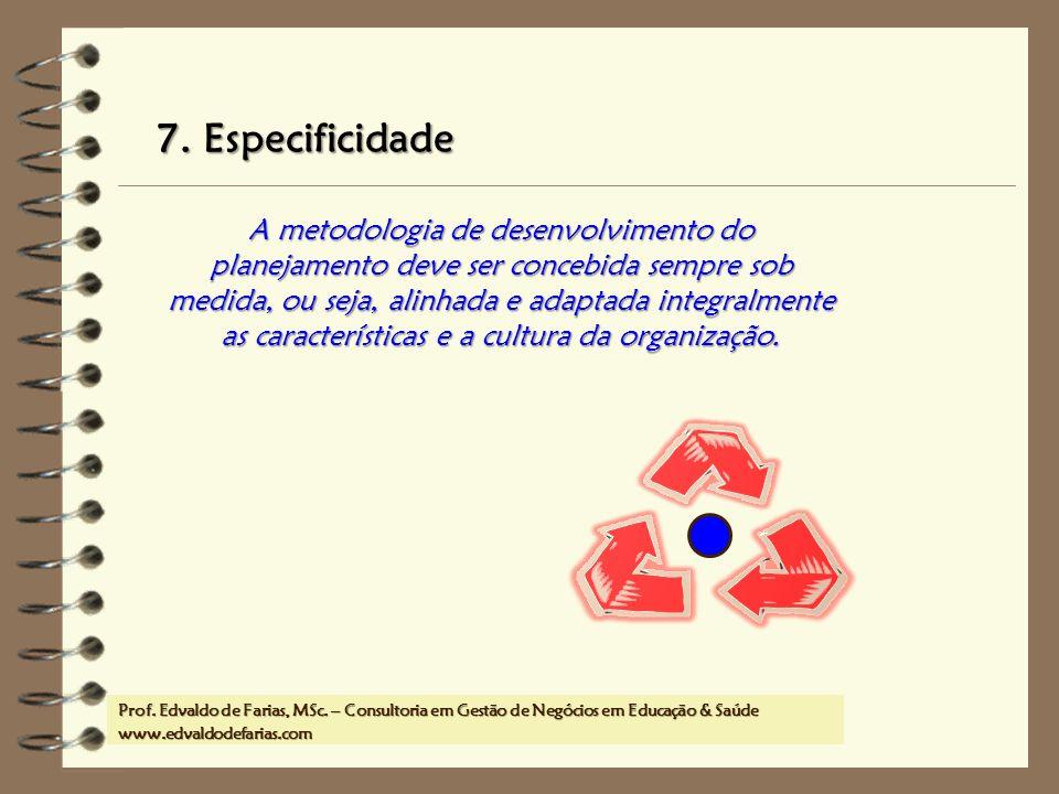 Prof. MSc. Edvaldo de Farias – www.edvaldodefarias.pro.br edvaldo.farias@uol.com.br A metodologia de desenvolvimento do planejamento deve ser concebid