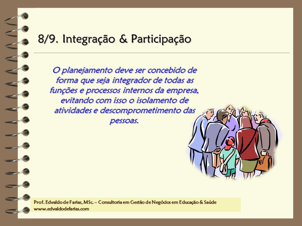 Prof. MSc. Edvaldo de Farias – www.edvaldodefarias.pro.br edvaldo.farias@uol.com.br O planejamento deve ser concebido de forma que seja integrador de