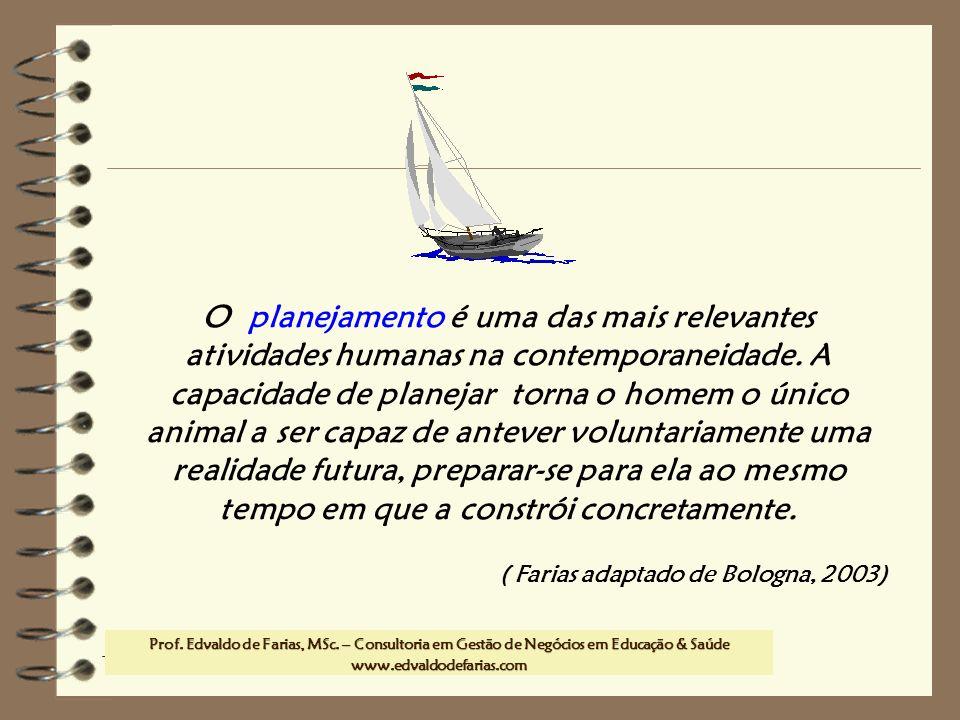 Prof. MSc. Edvaldo de Farias – www.edvaldodefarias.pro.br edvaldo.farias@uol.com.br O planejamento é uma das mais relevantes atividades humanas na con