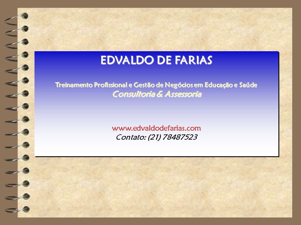 Prof. MSc. Edvaldo de Farias – www.edvaldodefarias.pro.br edvaldo.farias@uol.com.br EDVALDO DE FARIAS Treinamento Profissional e Gestão de Negócios em